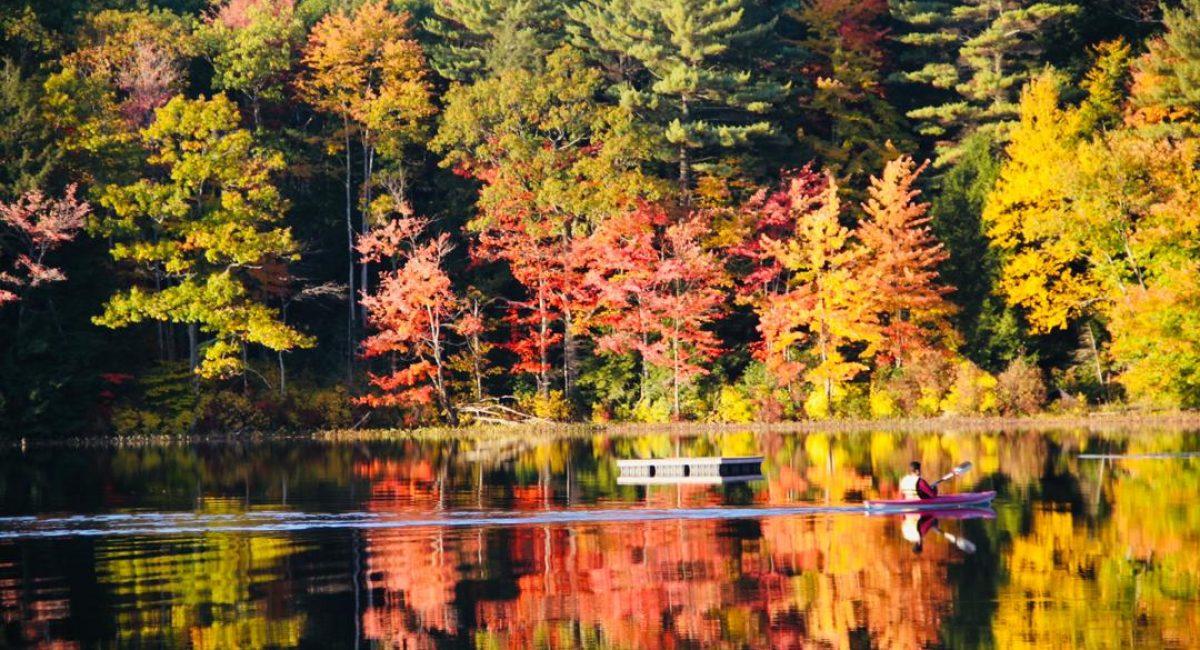 kayaking in fall foliage